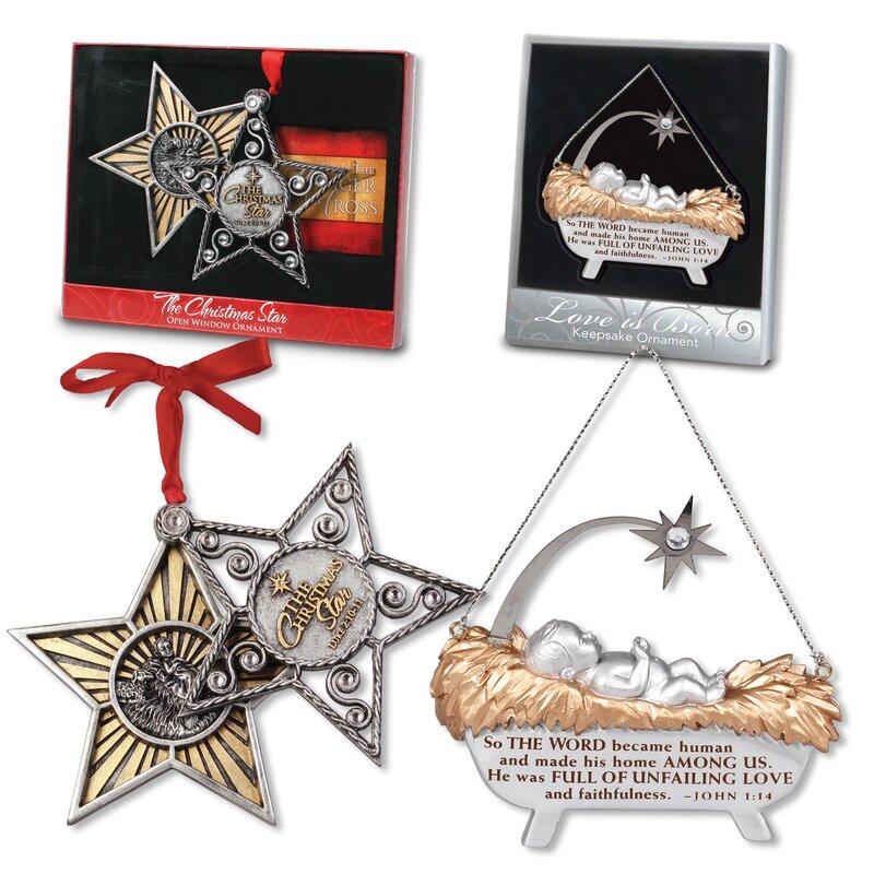 2 Jesus Christ Savior is born Christmas ornaments