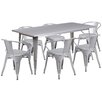 17 Stories Fuad 7 Piece Dining Set Finish Silver