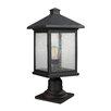17 Stories Leroy Modern Outdoor 1 Light Glass Shade Pier Mount Light