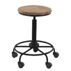 17 Stories Arseny Rustic Round 23 Bar Stool with Wheels