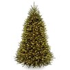 Dunhill Fir 7.5' Hinged Green Artificial Christmas Tree with 600 Clear Lights
