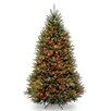 Dunhill Fir 7.5' Hinged Green Artificial Christmas Tree with 600 Multicolored Lights