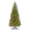 Dunhill Slim Fir 7.5' Hinged Green Artificial Christmas Tree with 600 Clear Lights