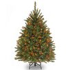 Dunhill Fir 4.5' Hinged Green Artificial Christmas Tree with 450 Multicolored Lights
