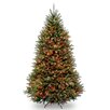 Dunhill Fir 6.5' Hinged Green Artificial Christmas Tree with 650 Multicolored Lights