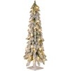 3' White Downswept Artificial Christmas Tree with 50 Colored & Clear Lights