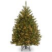 Dunhill Fir 4.5' Hinged Green Artificial Christmas Tree with 300 Clear Lights