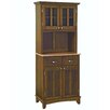 Cherry Buffet Natural Wood Top and Glass Door Hutch 1284 1075
