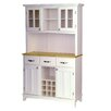Large Wood Buffet Natural Wood Top and Glass Door Hutch 1294 636