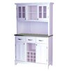 Large Wood Buffet Stainless Steel Top and Glass Door Hutch 1234 800