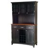Large Wood Buffet Cottage Oak Top and Glass Door Hutch 1283 711
