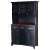 Large Wood Buffet Wood Top and Glass Door Hutch 1283 711