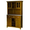 Large Cottage Oak Buffet Stainless Steel Top and Glass Door Hutch 1143 1820