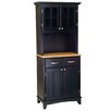 Black Buffet Natural Wood Top and Glass Door Hutch 1099 1838