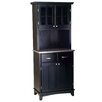 Black Buffet Stainless Steel Top and Glass Door Hutch 1152 2609