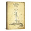 iCanvas Sailboat 1 Vintage Patent Blueprint Graphic Art on Wrapped Canvas
