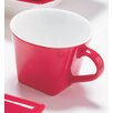 Whittier Halo 5.5 Oz. Red Flared Tea Cup And Saucer (set Of 4)