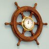 18 Wood and Chrome Pirate Ship Wheel Clock Color Brass