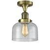 17 Stories Adette 1 Light Semi Flush Mount Fixture Finish Antique Brass