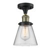 17 Stories Cavet 1 Light Semi Flush Mount Fixture Finish Black Brushed Brass Shade Color Clear