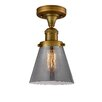 17 Stories Cavet 1 Light Semi Flush Mount Fixture Finish Brushed Brass Shade Color Smoked
