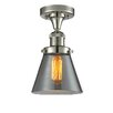 17 Stories Cavet 1 Light Semi Flush Mount Fixture Finish Polished Nickel Shade Color Smoked
