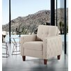 Persis Tufted Mid Century Armchair - Upholstery: Beige, Finish: Dark Brown - Ivy Bronx Sofas