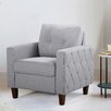 Persis Tufted Mid Century Armchair - Upholstery: Light Gray, Finish: Dark Brown - Ivy Bronx Sofas