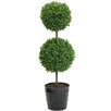 18 Tall Artificial Tabletop Double Ball Shaped Boxwood Topiary in Pot