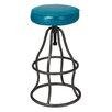 17 Stories Bernardo Adjustable Height Swivel Bar Stool Upholstery Peacock Blue
