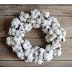 12 Faux Cotton Wreath Set of 2