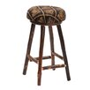 Hickory Round Stool Upholstered Swivel Seat Height