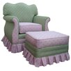 Angel Song Adult Empire Glider Rocker in Bubblegum Pink / Green - Sofa and Chair Shop