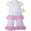 2 Piece Polka Dot Halter Outfit in Pink