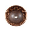 Flower and Vine Design Topmount Round Copper Vessel Sink 2190
