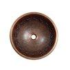 Contemporary Tribal Design Topmount Round Copper Vessel Sink 367 13753