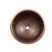 Vine Design Topmount Round Copper Vessel Sink 2190