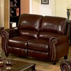 Abbyson Living Charlotte Leather Pushback Reclining Loveseat in Burgundy - Sofa and Chair Shop