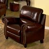 Abbyson Living Charlotte Leather Pushback Reclining Arm Chair in Burgundy - Sofa and Chair Shop