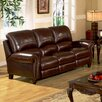 Abbyson Living Charlotte Leather Pushback Reclining Sofa in Burgundy - Sofa and Chair Shop