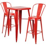 3 Piece Bar Table and Chair Set Finish: Red