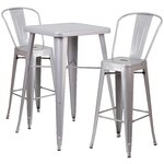 3 Piece Bar Table and Chair Set Finish: Silver