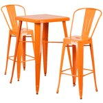 3 Piece Bar Table and Chair Set Finish: Orange