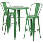 3 Piece Bar Table and Chair Set Finish: Green