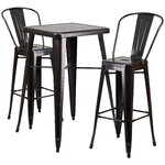 3 Piece Bar Table and Chair Set Finish: Black / Antique Gold