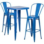 3 Piece Bar Table and Chair Set Finish: Blue