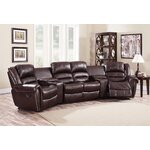 Abbie Home Theater Recliner (Row of 4) Upholstery: Burgundy