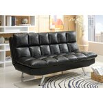 Adjustable Sleeper Sofa Futon and Mattress Upholstery: Black