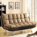 Adjustable Sleeper Sofa Futon and Mattress Upholstery: Two Tone Brown
