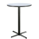 "30"" Round Pedestal Table Color: Grey Nebula, Size: 42""H x 30""W"